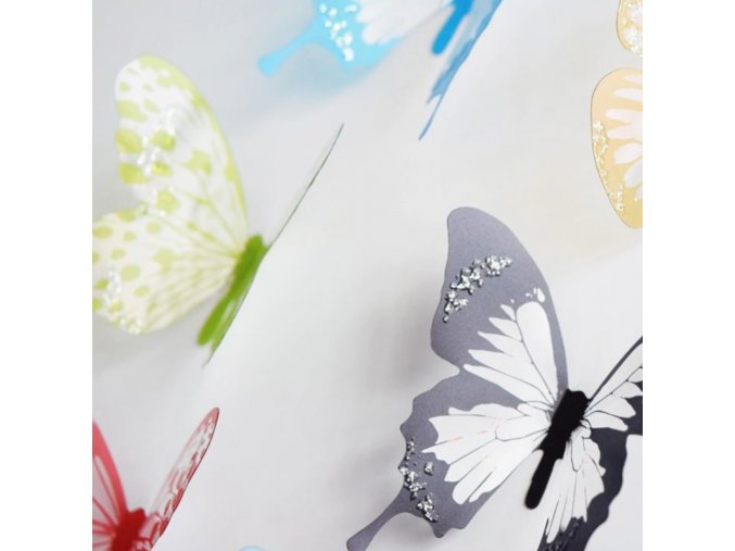 Motýli - sada lepících barevnách motýlů  na zeď - dekorace - dekorace do bytu - motýl - velikonoční dekorace - jarní dekorace