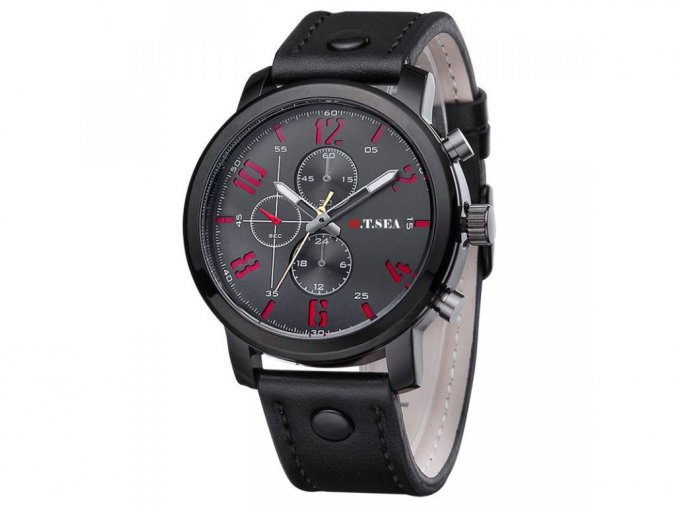 Pánské černé kožené hodinky