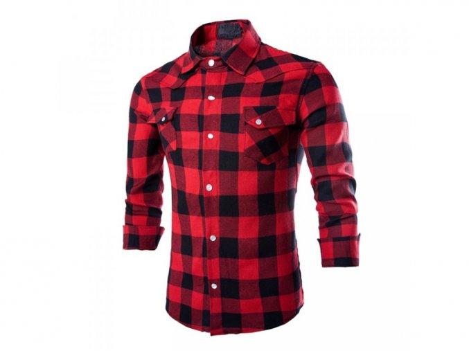 Pánská červená kostkovaná košile