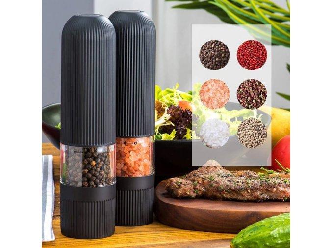 Kuchyně - elektrický mlýnek na sůl nebo pepř v černé barvě - slánka a pepřenka - vánoční dárek
