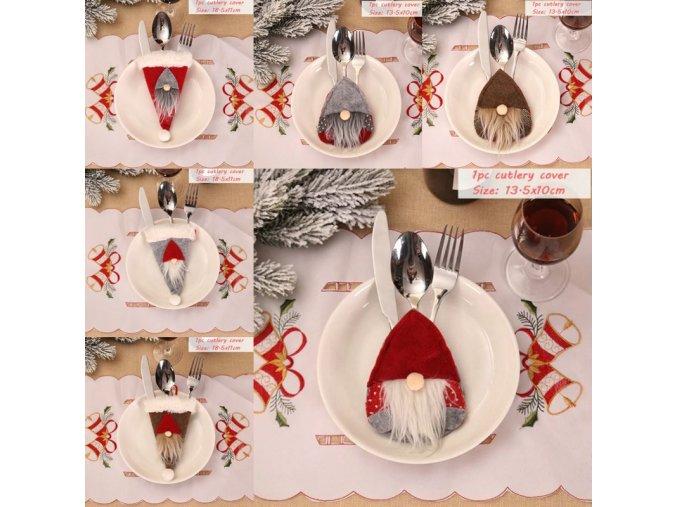 Vánoce - vánoční skřítci na příbory - vánoční dekorace - prostírání - vánoční skřítek