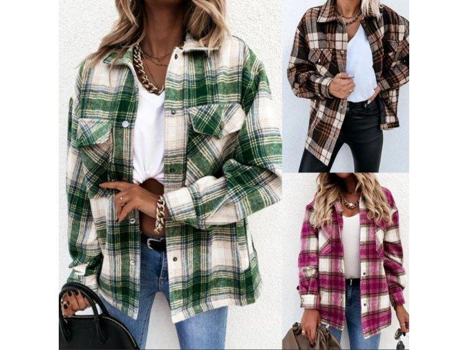 Oblečení - dámská košilová bunda v retro stylu - dámské jarní bundy - výprodej skladu