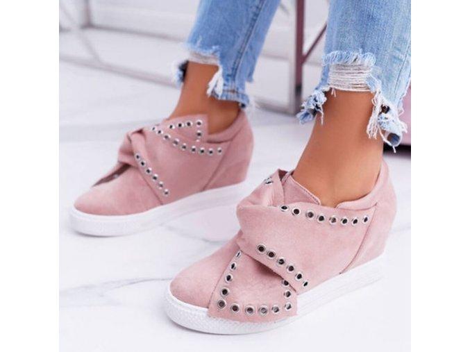 Boty - dámské boty - dámské slip on s vyvýšeným podpatkem - tenisky - dámské tenisky