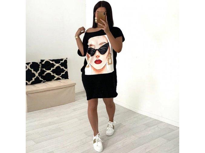 Oblečení - dámské volné šaty s potiskem hlavy - šaty - dámské šaty - letní šaty - výprodej skladu