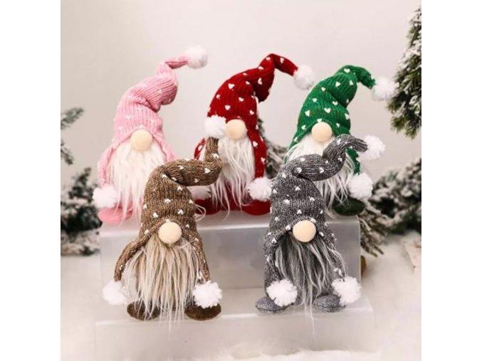 Vánoce - vánoční skřítek s čepičkou se srdíčky ve více barvách - vánoční skřítek - vánoční dekorace - výprodej skladu