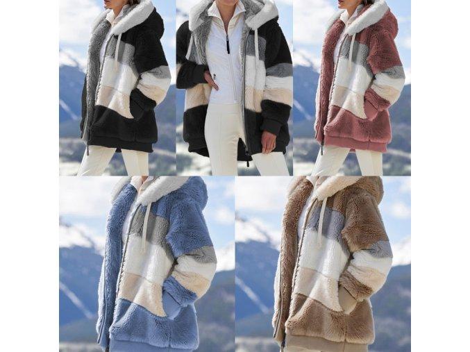 Oblečení - kabát - dámský zimní kabát na zip s kapucí - nadměrné velikosti - dámské zimní kabáty  - zimní kabáty