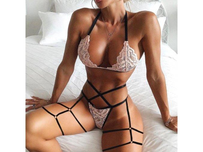 Oblečení - sexy erotické spodní prádlo v růžové barvě - erotické prádlo - podprsenky  - tanga