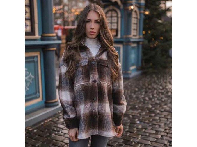 Oblečení - kabát - dámský podzimní módní kostkovaný kabát - dámský kabát - výprodej skladu