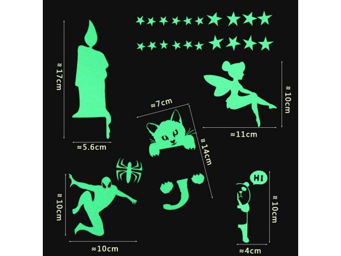 Samolepky na zeď- svítící ve tmě - SLEVA 90% (Typ 5)