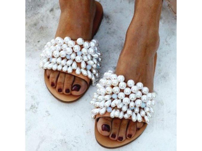 Boty - dámské boty - pantofle - dámské letní pantofle zdobené perličkami - dámské pantofle