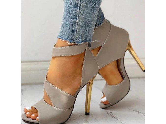 Boty - dámské boty - dámské letní sandály s jehlovým podpatkem v šedé a černé barvě - dámské sandály - dárek