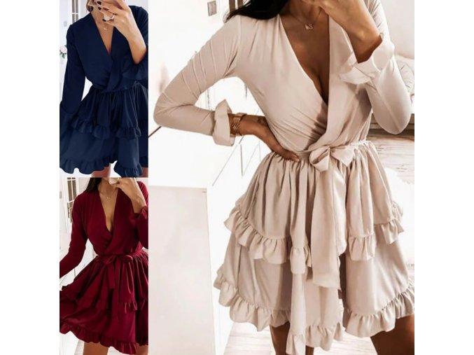 Dámské oblečení - šaty - krásné volánkové šaty na zavazování - dámské šaty - výprodej skladu