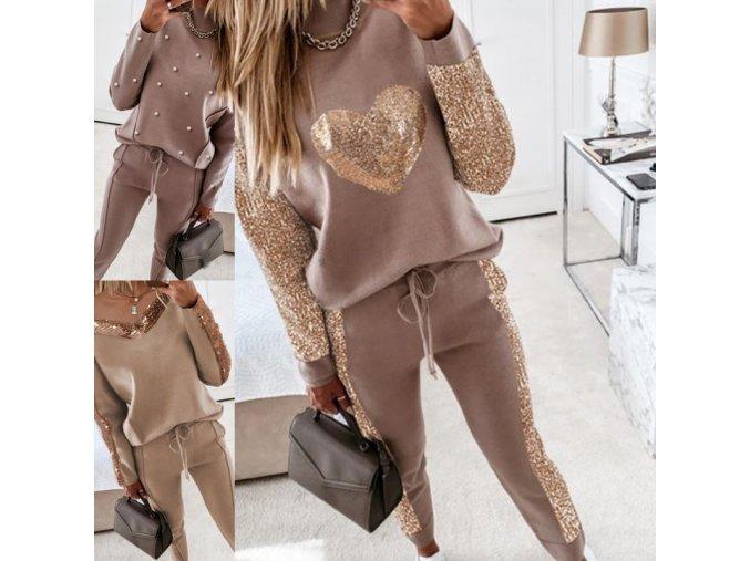 Dámské oblečení - tepláková souprava - dámská módní tepláková souprava v béžové barvě ve třech variantách - dámská tepláková souprava