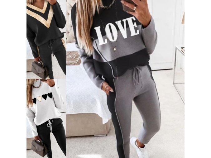 Dámské oblečení - tepláková souprava - dámská módní tepláková souprava v černé barvě ve třech variantách - dámská tepláková souprava