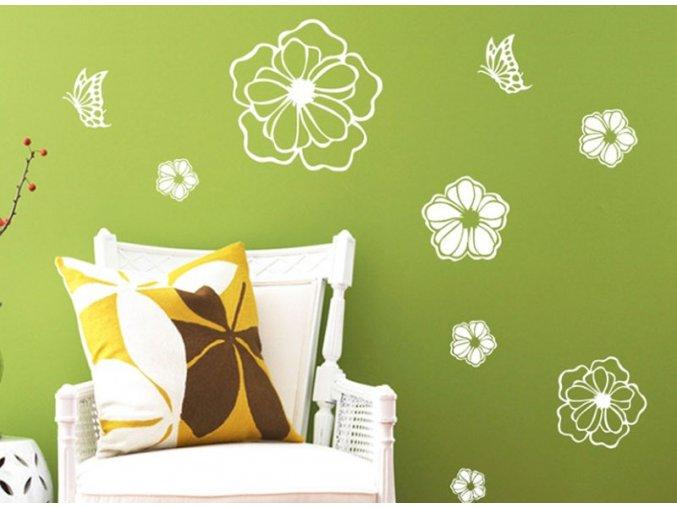 Samolepící dekorace s motivy kytiček - SLEVA 80% (Barva Bílá)