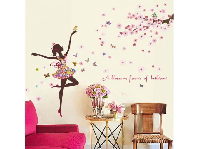 Samolepící dekorace na zeď - tanečnice s motýly