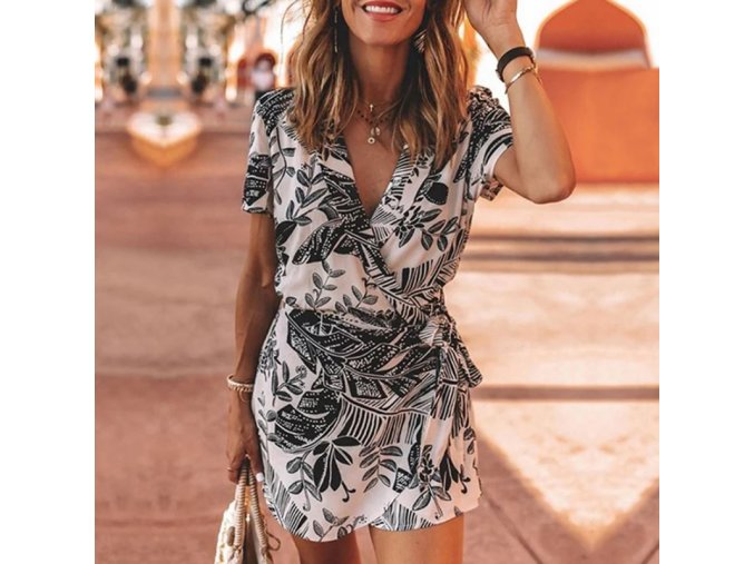 Dámské oblečení  - šaty - dámské letní černobílé vzorované šaty na zavazování - letní šaty - dámské šaty