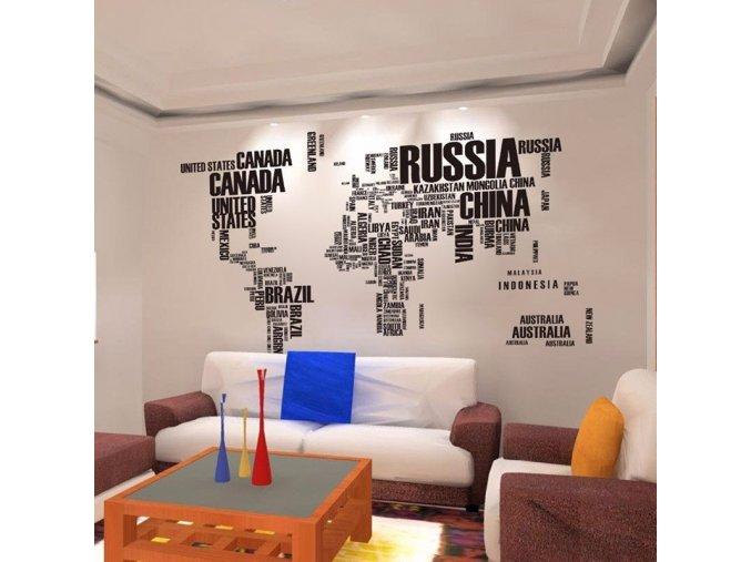 Dekorační nalepovací mapa světa