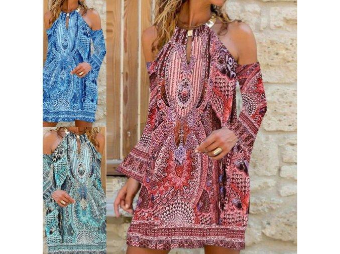 oblečení  - šaty - letní vzorované šat v boho style se zdobením u krku - letní šaty - dámské šaty - výprodej skladu