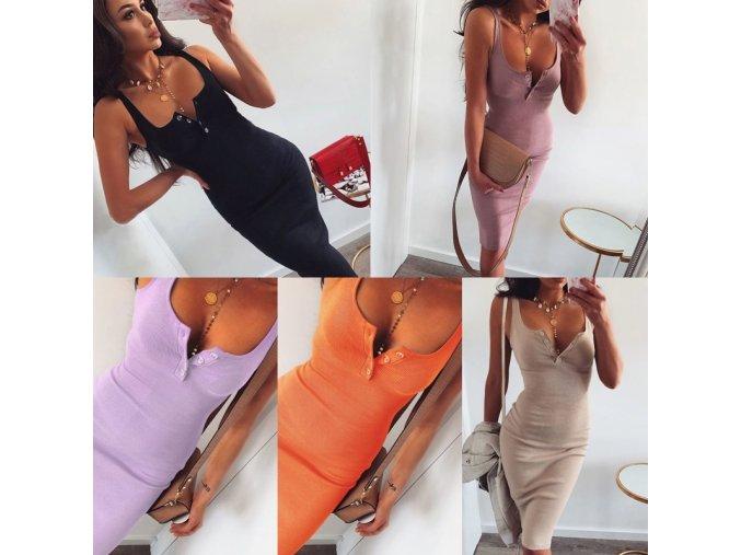 oblečení  - šaty - dámské delší upnuté šaty s knoflíčky - dámské šaty - slevy dnes