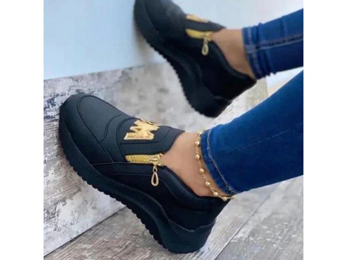 Boty - dámské boty - dámské pohodlné nazouvací boty se zlatým zdobením - dámské tenisky - slevy dnes