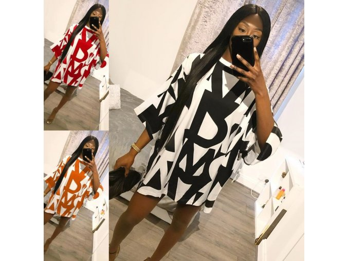 oblečení  - šaty - dámské tričkové volné šaty s potiskem písmen - dámské šaty - letné šaty - slevy dnes