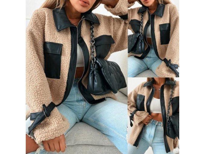 oblečení  - zimní bunda - dámské módní bunda v béžové barvě s koženýmý detaily - jarní bunda - dámské jarní bundy - výprodej skladu