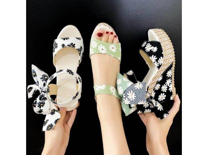 Boty - dámské boty - dámské letní boty s potiskem kopretin - dámské sandály - slevy dnes