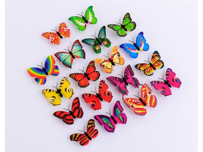 3D LED svítící motýlci na zeď - 10 ks