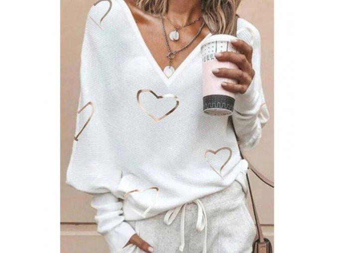 oblečení  - dámské svetry - dámský lehký svetr s výstříhem a potiskem srdíček - dámská trička