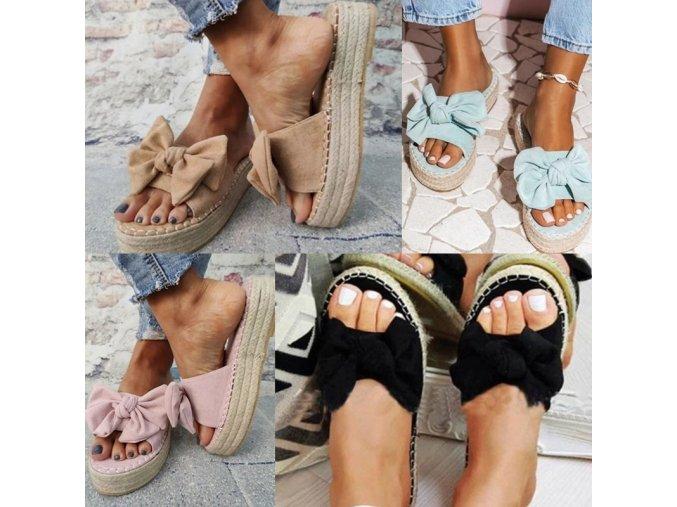Boty - dámské boty - dámské letní pantofle na vysoké slámové platformě s mašlí - dámské pantofle - výprodej skladu