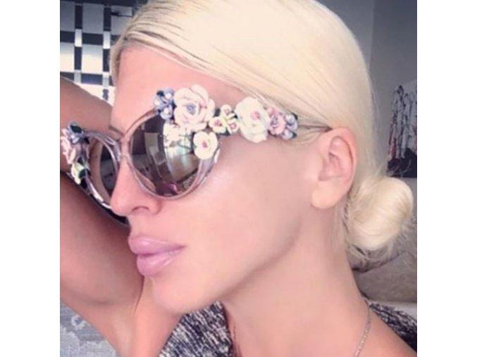 Brýle - dámské stylové sluneční brýle zdobené květinami - brýle - výprodej skladu