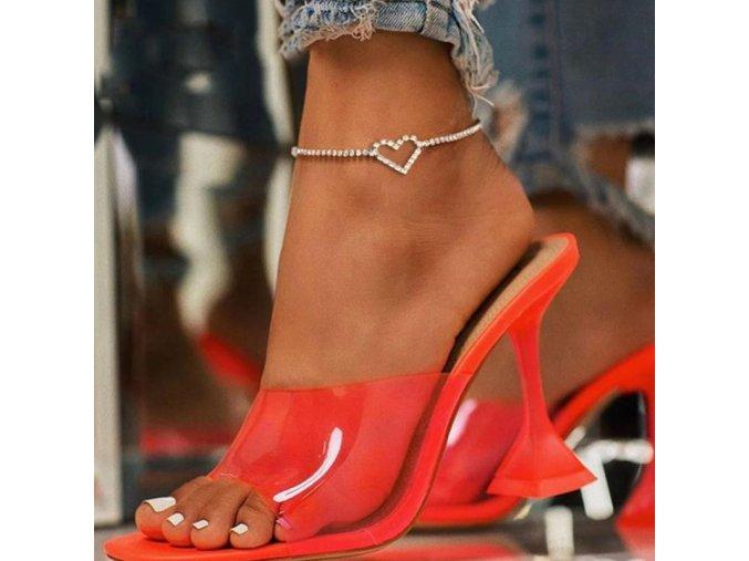 Náramky - krásný třpytivý náramek na nohu se srdíčkem - šperky - bižuterie