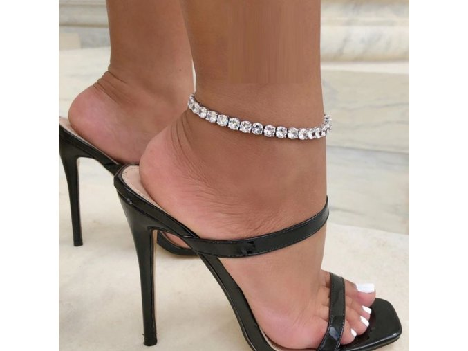 Náramky - krásný třpytivý náramek na nohu s kamínky - šperky - bižuterie