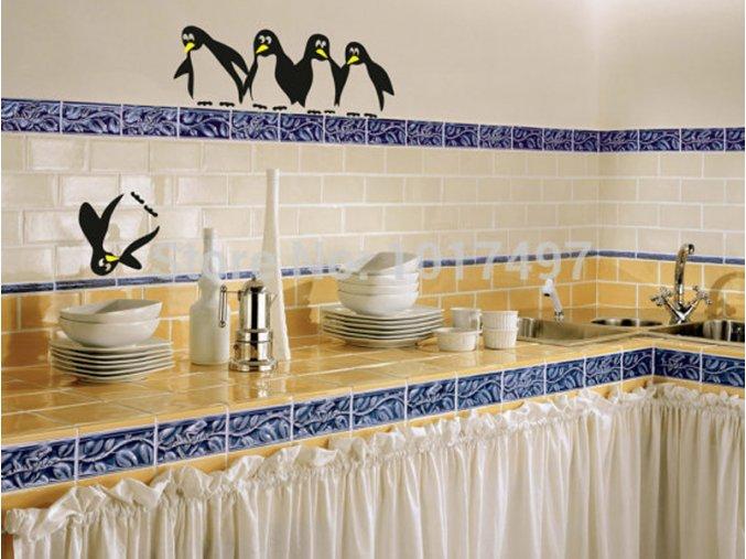 Dekorativní samolepky - tučňáci - 5ks