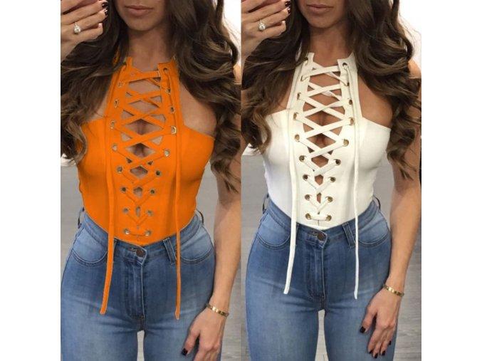 oblečení - dámská trička - dámský sexy top se šněrovaním - dárky pro ženu - top - výprodej skladu