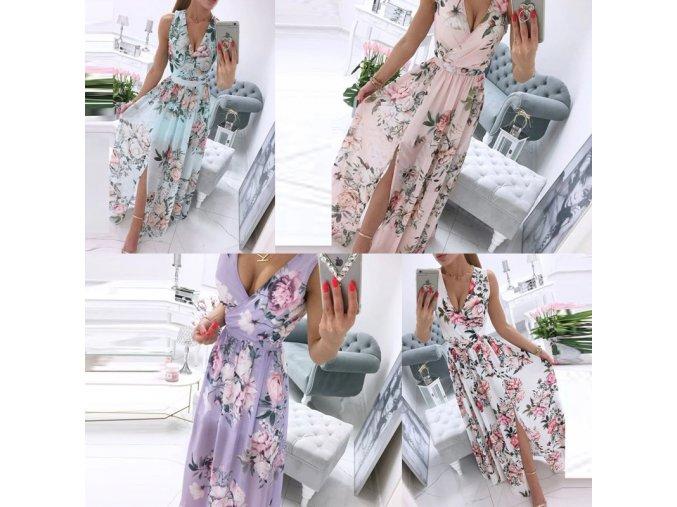 oblečení - šaty - dámské dlouhé letní šaty s výstříhem s květinovými vzory - dámské šaty - letní šaty