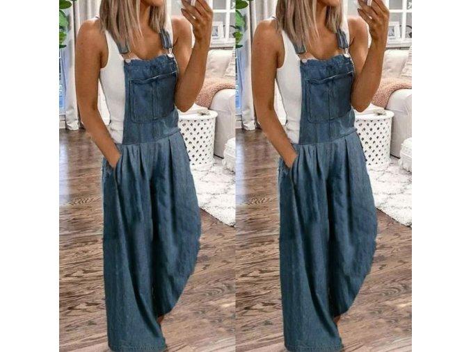 oblečení - kalhoty - dámské lacláčové volné kalhoty s kapsami ve tmavě modré - kalhoty s laclem