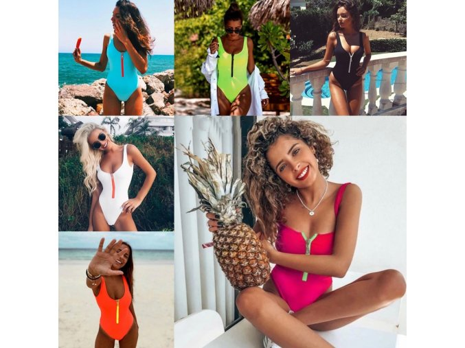 oblečení  - plavky - dámské jednodílné jednobarevné plavky se zipem - dámské plavky - jednodílné plavky