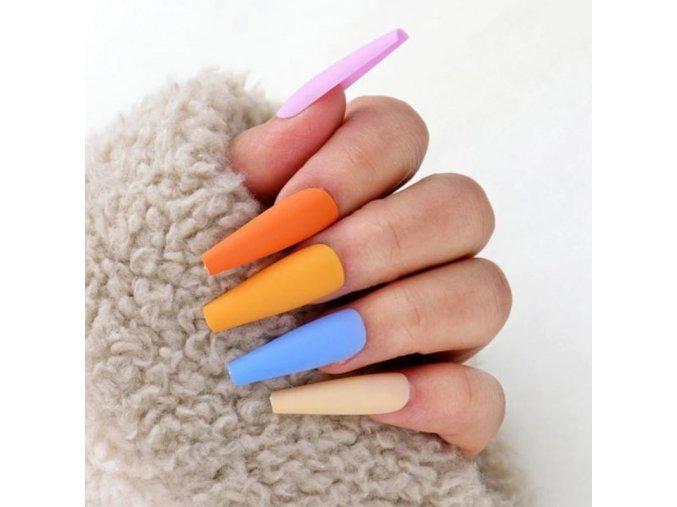 Kosmetika - nehty - umělé nalepovací barevné nehty v sadě po 100ks - modeláž nehtů - dárky pro ženu