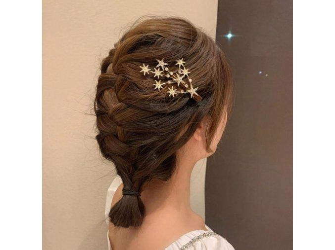 Vlasy - účes - ozdobná sponka s kamínky ve tvaru hvězdiček  - hvězdy  - dárky
