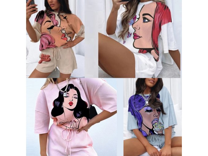 Dámské oblečení - dámský set kraťasy + trička s komiksovým motivem - dámská trička - kraťasy