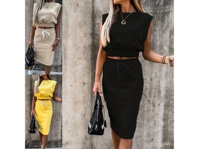 Dámské oblečení - dámský set sukně + top v teplákovém stulu - sukně - dlouhá sukně -  dámské tričko
