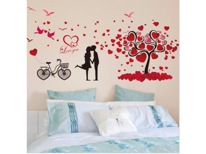 Romantická samolepící dekorace na zeď