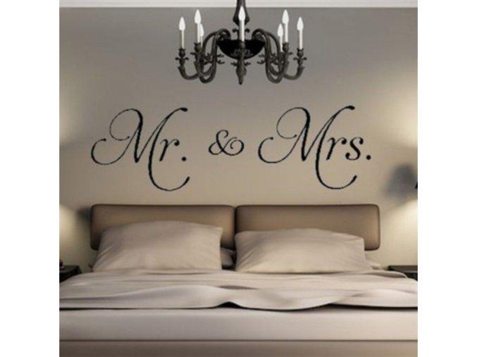 Samolepící dekorace na zeď - Mr&Mrs - SLEVA 70% (Barva Černá)