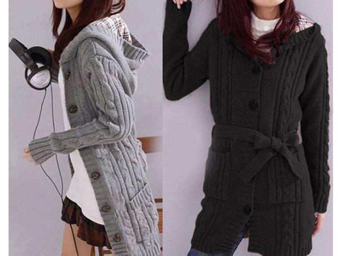 Podzimní dámský svetr kardigan s kapucí - různé barvy (Barva Šedá)