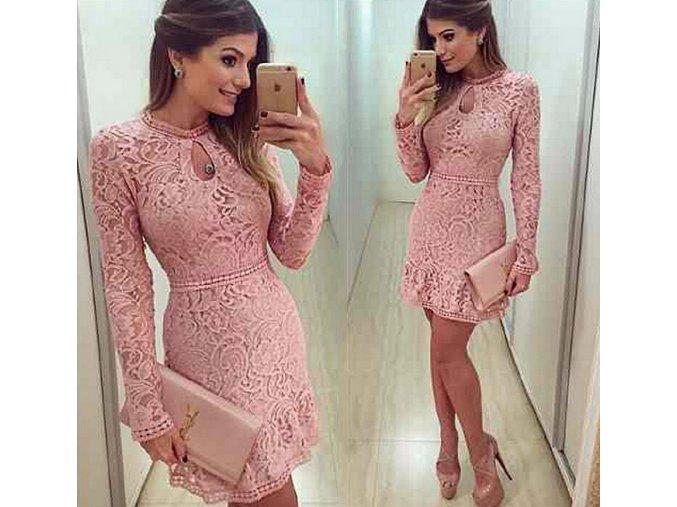 Dámské elegantní krajkované růžové šaty (Velikost XL)