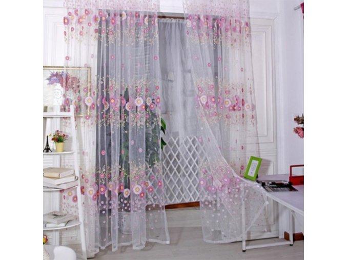 Záclona s květinami - různé barvy - SLEVA 80% (Barva Růžová)