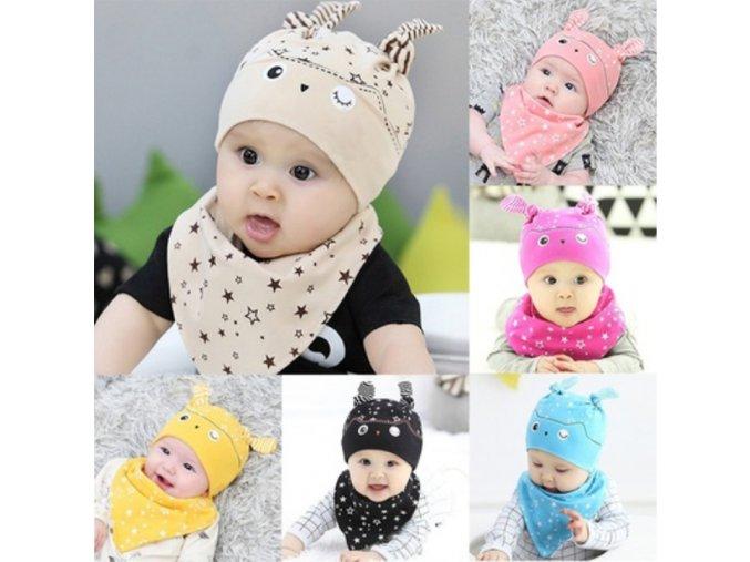 Set pro miminka - čepička + šátek - různé barvy - SLEVA 70% (Barva Žlutá)