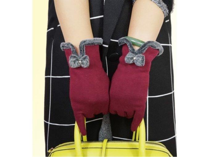 Zimní dámské rukavice s mašličkou - SLEVA 60% (Barva Šedá)